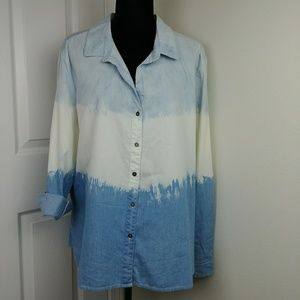 tribal.jeans Chambray button down blue white ombre
